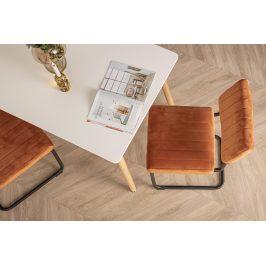 Time for home Cihlově oranžová sametová jídelní židle Cornelia