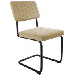 Time for home Pískově hnědá sametová jídelní židle Cornelia