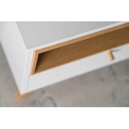 Bílý TV stolek FormWood Thia s dubovou podnoží 160 x 45 cm