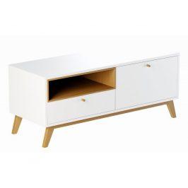 Bílý TV stolek FormWood Thia s dubovou podnoží  120 x 45 cm Stolky pod TV