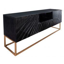 Moebel Living Černý masivní televizní stolek Remus 160x40 cm