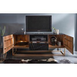 Moebel Living Černý masivní mangový TV stolek Remus 160x40 cm