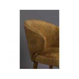 Okrově žlutá sametová jídelní židle DUTCHBONE Lunar