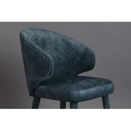 Petrolejově modrá sametová jídelní židle DUTCHBONE Lunar