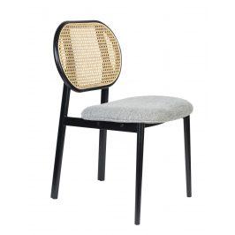 Šedá čalouněná židle ZUIVER SPIKE s ratanovým opěradlem Židle do kuchyně