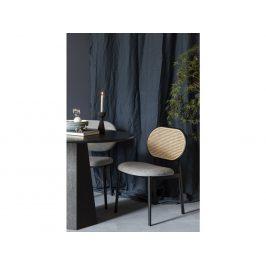 Šedá čalouněná židle ZUIVER SPIKE s ratanovým opěradlem