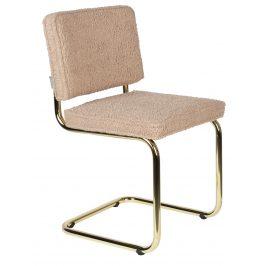 Růžová látková jídelní židle ZUIVER TEDDY