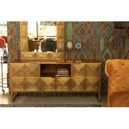 Zlatý mangový TV stolek DUTCHBONE VOLAN 135 x 40 cm