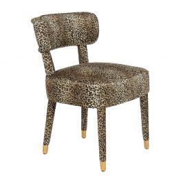 Černá sametová jídelní židle BOLD MONKEY CLAWS OUT s potiskem pantera