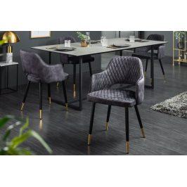 Moebel Living Tmavě šedá sametová jídelní židle Pierre