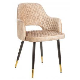 Moebel Living Béžová sametová jídelní židle Pierre Židle do kuchyně