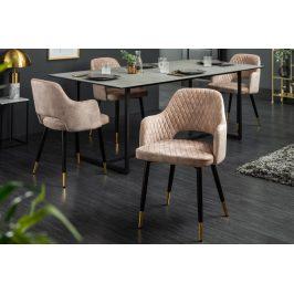 Moebel Living Béžová sametová jídelní židle Pierre