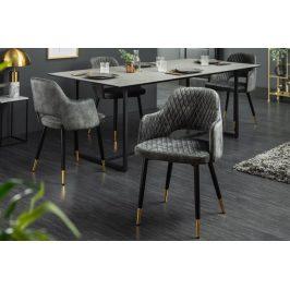 Moebel Living Šedá sametová jídelní židle Pierre