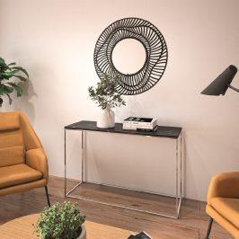 Porto Deco Černý mramorový toaletní stolek Baronet 120x40 cm se stříbrnou podnoží