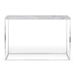 Porto Deco Bílý mramorový toaletní stolek Baronet 120x40 cm se stříbrnou podnoží