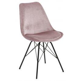 SCANDI Světle růžová sametová jídelní židle Erisa Židle do kuchyně