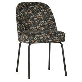 Hoorns Černá sametová jídelní židle Tergi s květinovým vzorem Židle do kuchyně
