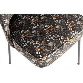 Hoorns Černá sametová jídelní židle Tergi s květinovým vzorem