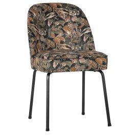 Hoorns Černá sametová jídelní židle Tergi s květinovým vzorem II. Židle do kuchyně