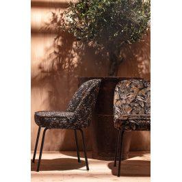 Hoorns Černá sametová jídelní židle Tergi s květinovým vzorem II.