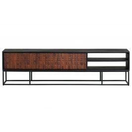 Hoorns Hnědý masivní sheeshamový TV stolek Alecia  175 x 43 cm