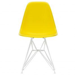 Design Project Žlutá plastová jídelní židle DSR s bílou podnoží Židle do kuchyně