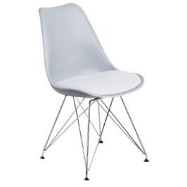 Design Project Šedobílá plastová židle DSR s čalouněným sedákem
