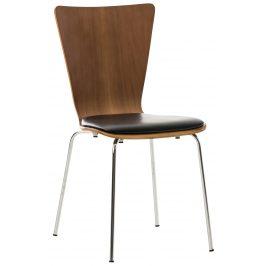 DMQ Ořechová koženková jídelní židle Aron