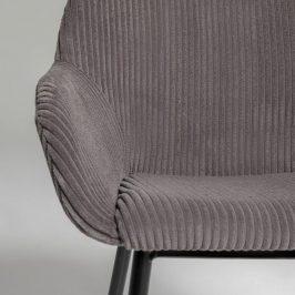 Šedá manšestrová jídelní židle LaForma Konna