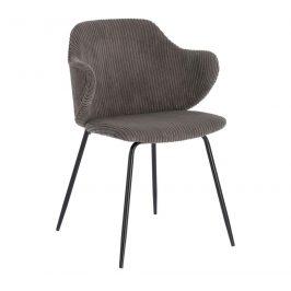 Tmavě šedá manšestrová jídelní židle LaForma Suanne Židle do kuchyně