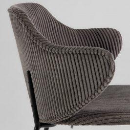 Tmavě šedá manšestrová jídelní židle LaForma Suanne