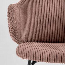 Růžová manšestrová jídelní židle LaForma Suanne