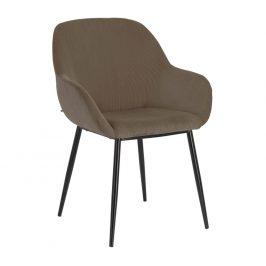Tmavě šedá manšestrová jídelní židle LaForma Konna