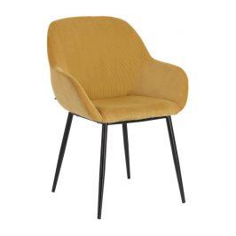 Hořčicově žlutá manšestrová jídelní židle LaForma Konna