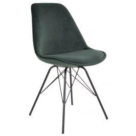 Nordic Living Tmavě zelená sametová jídelní židle Marcus s černou podnoží
