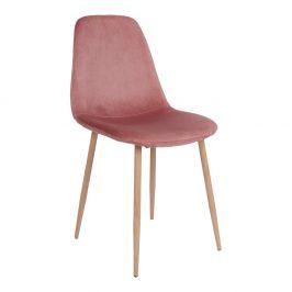 Růžová sametová jídelní židle Nordic Living Raya s přírodní podnoží