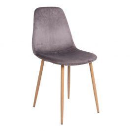 Šedá sametová jídelní židle Nordic Living Raya s přírodní podnoží