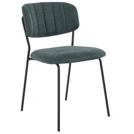 Tmavě zelená látková jídelní židle Nordic Living Alica