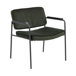 SCANDI Tmavě zelená sametová jídelní židle Mollya