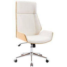 DMQ Bílá koženková dubová kancelářská židle Berger