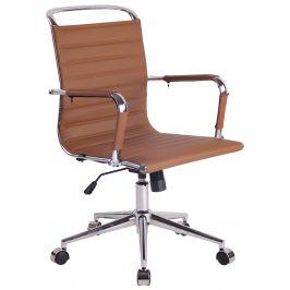 DMQ Hnědá prošívaná kancelářská židle Lexus II.