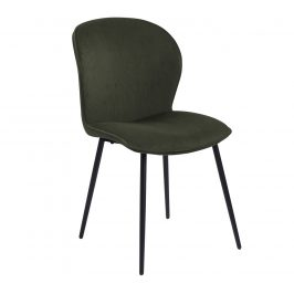 SCANDI Olivově zelená sametová jídelní židle Evelen