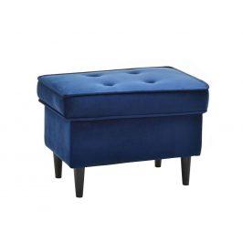 Design Project Modrá sametová podnožka Montano