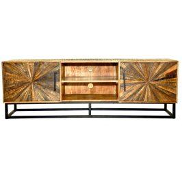 Moebel Living Přírodní masivní televizní stolek Hypnos 145 x 36 cm