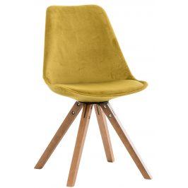 DMQ Žlutá sametová jídelní židle Taylor s bukovou podnoží