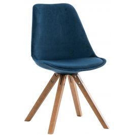 DMQ Modrá sametová jídelní židle Taylor s bukovou podnoží