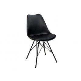 Moebel Living Černá koženková jídelní židle Alara s černou podnoží Židle do kuchyně