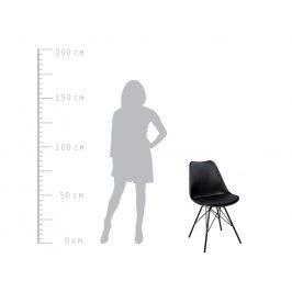 Moebel Living Černá koženková jídelní židle Alara s černou podnoží