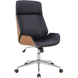 DMQ Černé koženkové dubové kancelářské křeslo Albert