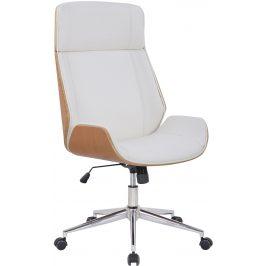 DMQ Bílé koženkové dubové kancelářské křeslo Albert
